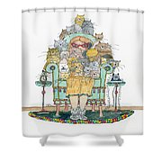 Cat Lady - In Chair Shower Curtain by Mag Pringle Gire