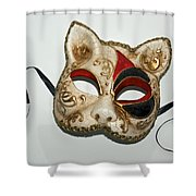Cat Masquerade Mask On White Shower Curtain