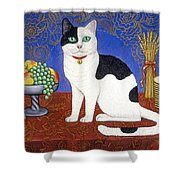 Cat On Thanksgiving Table Shower Curtain