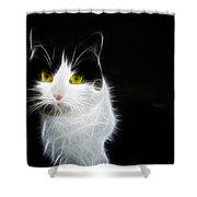 Cat Portrait Fractal Artwork Shower Curtain