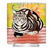 Cat Relaxing Shower Curtain