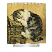 Cat With A Basket Shower Curtain