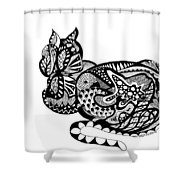 Cat With Design Shower Curtain