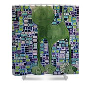 cat with lime wheel II Shower Curtain