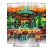 Catal Outdoor Cafe Downtown Disneyland Photo Art 01 Shower Curtain