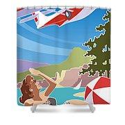 Catalina, Mid Century Travel Shower Curtain