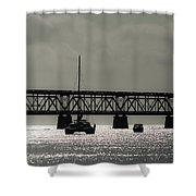 Catamaran Anchored At Old Bahia Honda Bridge Shower Curtain