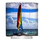 Catamaran At The Beach Shower Curtain