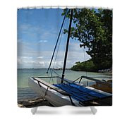 Catamaran On The Beach Shower Curtain