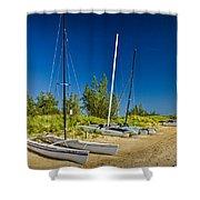 Catamaran Sailboats On The Beach At Muskegon No. 601 Shower Curtain