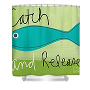 Catch And Release Shower Curtain by Linda Woods
