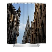 Catching A Glimpse Of Grand Place Brussels Belgium Shower Curtain