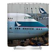 Cathay Pacific 747 Jumbo Jet Parked At Hong Kong Airport Shower Curtain