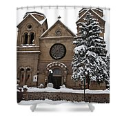 Cathedral Basilica Of St Francis In Snow Shower Curtain