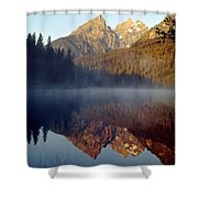 4m9304-cathedral Group Reflection, Tetons, Wy Shower Curtain