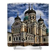 Cathedral In Tallinn Shower Curtain by David Smith