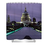Cathedral Lit Up At Night, St. Pauls Shower Curtain