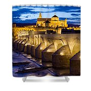 Cathedral Mosque And Roman Bridge In Cordoba Shower Curtain