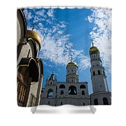 Cathedral Of The Dormition And Ivan The Great Belfry Of Moscow Kremlin Shower Curtain