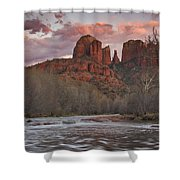 Cathedral Rock Sunset Shower Curtain by Paul Riedinger