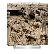 Cathedral Wall Nativity Sculpture Shower Curtain