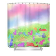 Cats In The Meadow Shower Curtain
