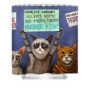 Cats On Strike Edit 2 Shower Curtain
