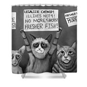 Cats On Strike Edit 4 Shower Curtain