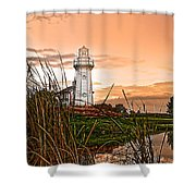 Cattails And Lighthouse In Indiana Shower Curtain