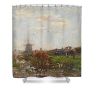 Cattle Grazing Shower Curtain by Willem Maris