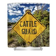 Cattle Guard Road Sign Shower Curtain