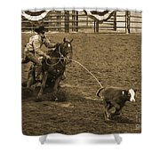 Cattle Roping In Colorado Shower Curtain