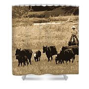 Cattle Round Up Sepia Shower Curtain