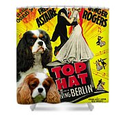 Cavalier King Charles Spaniel Art - Top Hat Movie Poster Shower Curtain