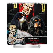 Cavalier King Charles Spaniel Art - Vertigo Movie Poster Shower Curtain