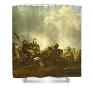 Cavalry Attacking Infantry Shower Curtain