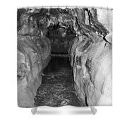Cave Entrance Black And White Shower Curtain