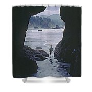 Mp-335-cave In Battle Rock Port Orford Shower Curtain