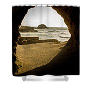Cave View Of Rocks Near San Francisco Ca Cliff House Shower Curtain