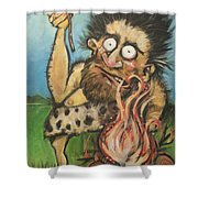 Caveman And Fire Shower Curtain