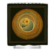 Cavern Framed Green And Gold Shower Curtain