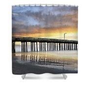 Cayucos Pier Reflected Impasto Shower Curtain