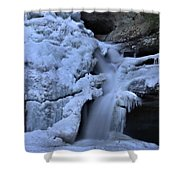 Cedar Falls In Winter At Hocking Hills Shower Curtain by Dan Sproul