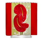 Celebration - Red Anthurium And White Orchids  Shower Curtain