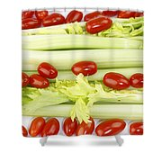 Celery And Tomatoes Shower Curtain