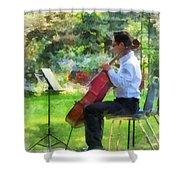 Cellist In The Garden Shower Curtain