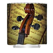 Cello Scroll With Sheet Music Shower Curtain