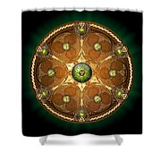 Celtic Chieftain Shield - Emerald Shower Curtain by Richard Barnes