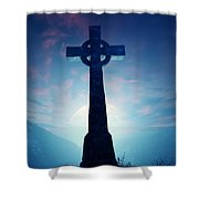 Celtic Cross With Moon Shower Curtain