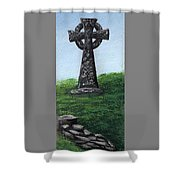 Celtic Cross With Old Irish Blessing Shower Curtain